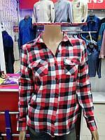 Рубашка байковая в клетку дл/короткий рукав (38-44р)