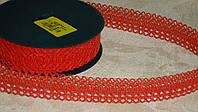 Лента декоративная красного цвета ажурная 3 см