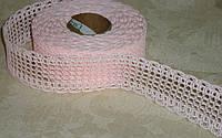 Лента декоративная нежно-розовая ажурная 4 см
