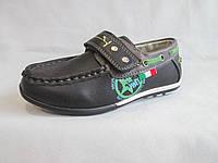 Туфли  для мальчиков, 25-30 р., комбинированные мокасины на липучке, два цвета, фото 1