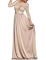 Бежевое Свадебное платье в пол с гипюровым верхом и длинной юбкой