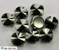 Hematite. Пришивные стразы Риволи в цапах 14 мм (1122)