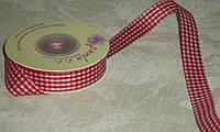 Лента декоративная тканная в клетку бордовая 1,5 см