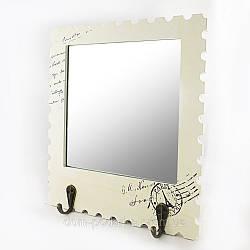 Прекрасное настенное зеркало в стиле прованс с крючками для вещей и одежды купить в Харькове