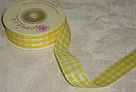 Лента декоративная тканная в клетку желтая 2 см
