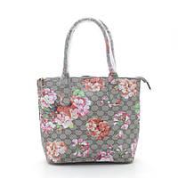 Женская объемная сумка тоут трапеция серая с цветами
