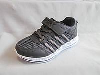 Кроссовки для мальчиков, 31-36 р., на шнурках и липучке, с полосками, серые