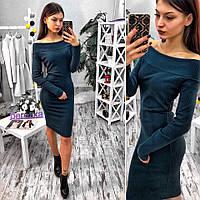 Женское красивое повседневное платье из трикотажа-рубчик (3 цвета), фото 1