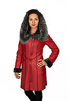Дубленка женская ярко-красная, фото 1