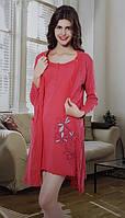Женский набор халат и ночная рубашка байковая SIS-154