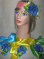 Лента с васильком и мелкими цветочками (35/30), фото 1