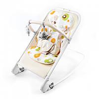 Шезлонг качалка Baby Tilly дуга с игрушками  рама алюминиевая до 9 кг бежевая
