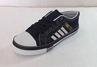 Джинсовые кеды чёрные рзмеры 41- 46 с полосками (мокасины - кроссовки ) KED-17-001