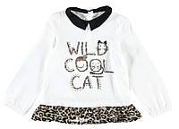 Реглан для девочки LC Waikiki белого цвета с черным воротником и надписью Wild cool cat