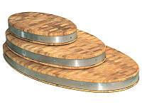 Доска разделочная торцевая овальная с металлическим ободом Кедр 90*50*7 см