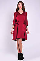 Женское платье красное с асимметричным низом