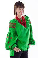 """Сорочка """"Ромашки"""" зелена з червоно/чорною вишивкою, фото 1"""