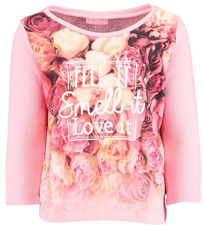 Реглан для девочки LC Waikiki розового цвета с цветами на груди