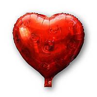 """Фольгированный шар """"Сердце с розами """", 43х48см. Воздушные шарики оптом., фото 1"""