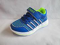 Кроссовки оптом детские, 26-31 р., на шнурках и липучке, с полосками, голубые