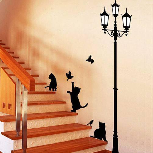 Наклейка на стену виниловая коты и фонарь