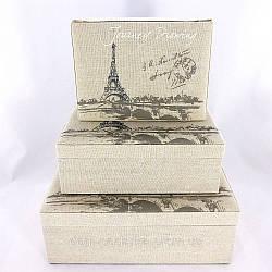Набор из 3-х текстильных шкатулок с изображением Парижа - купить подарок на 8 марта недорого