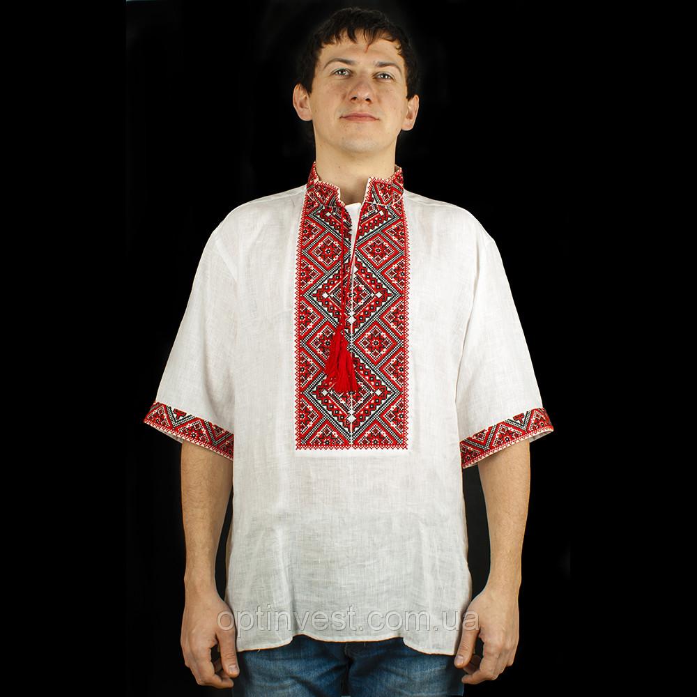 Красная мужская сорочка вышиванка из белого льна короткий рукав