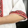 Красная мужская сорочка вышиванка из белого льна короткий рукав, фото 3