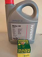 Масло двс NISSAN, фильтр масляный Mann, шайба под пробку (Комплект для замены масла)