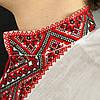 Красная мужская сорочка вышиванка из белого льна короткий рукав, фото 4