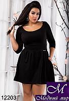 Короткое женское платье черного цвета батал (48, 50, 52, 54) арт. 12203