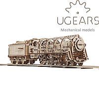 Механический 3D-пазл UGEARS - Локомотив с тендером