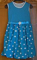 """Летнее платье для девочки """"Горошок"""". Размеры на рост от 128-140 см"""