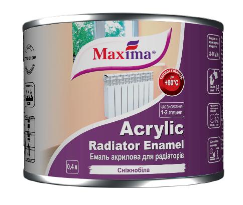 """Эмаль акриловая для радиаторов отопления Acrylic Radiator Enamel (TM """"Maxima"""") 0,4 л (белоснежная)"""