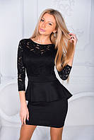 Платье нарядное короткое приталенное баска гипюровый верх