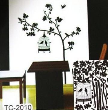 Виниловая наклейка на обои птички и дерево