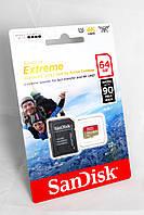 Карта памяти SanDisk 64GB microSDXC UHS-I U3 Extreme + SD adapter