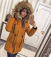 Парка Зимняя Куртка Тёплая Зима на силиконе (поэтому, ветронепроницаемая) Модная Курточка Енот