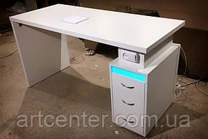 Маникюрный стол с вытяжкой  и УФ-лампой, белый глянец