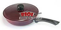 Сковорода алюминиевая 26см с внешним цветным покрытием БОРДО, ровное дно, пластиковая ручка, крышка БИОЛ А263Д