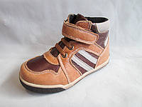 Ботиночки детские оптом, 25-30 р., на шнуровке и липучке, комбинированные коричневые