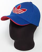 """Бейсболка спортивная """"Adidas"""" лакоста пятиклинка цвета электрик с красным подкозырьком и эмблемой"""