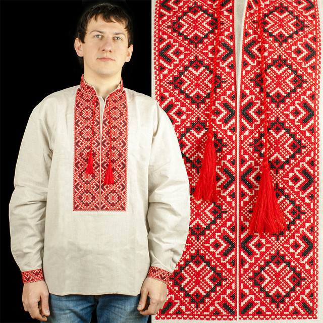 Чоловіча вишиванка з сірого 100% льону з червоною вишивкою. Натуральна  тканина дозволяє тілу дихати. Турецьке виробництво. Вишивка виконана  хрестиком. 5f5df63434199