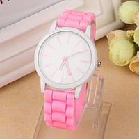 Оригинальные модные женские часы ,силиконовый ремешок, розовые
