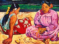 """Схема для вышивки бисером на атласе (картина) """"Таитянские женщины"""". Художник Поль Гоген"""