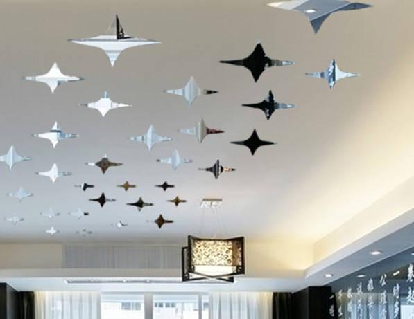 Зеркальные звезды 50шт наклейки декор на потолок стену
