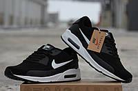 Мужские кроссовки Nike Air Max 90 Essential, нубук, черные с белым  / кроссовки мужские Найк Аир макс, модные