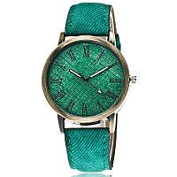 Модные оригинальные женские часы Jeans style, зеленые