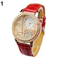 Наручные часы Париж с красным ремешком