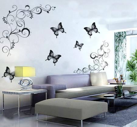 Интерьерные наклейки на стену бабочки и абстракция
